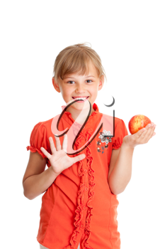 Royalty Free Photo of a Girl Holding an Apple