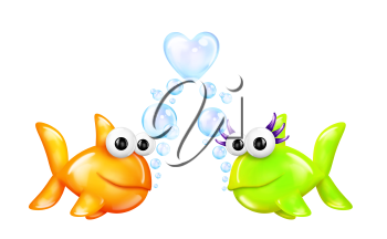 Royalty Free Clipart Image of Two Fish in Love