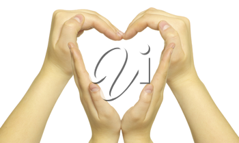 Royalty Free Photo of a Heart Made From Hands