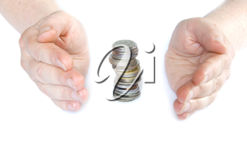 Hands holding  coins isolated on white