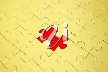 gold puzzles for background. business concept