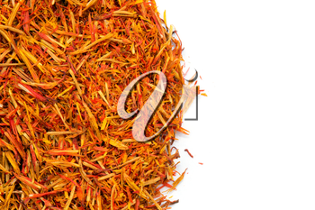 Dried saffron as food background