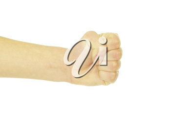 clenched fist isolated on the white