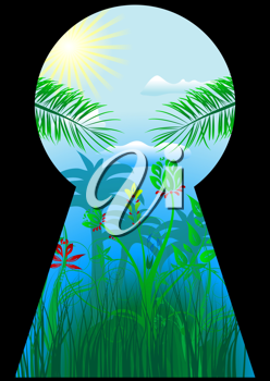 Royalty Free Clipart Image of a Keyhole Showing the Tropics