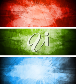 Royalty Free Clipart Image of a Set of Grungy Banners