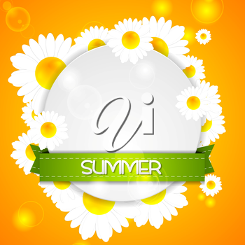 Summer design. Camomiles and ribbon on white circle