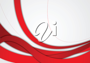 Abstract red and grey wavy corporate background. Vector graphic design