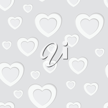 Grey seamless paper pattern with hearts. Vector background