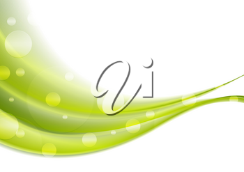 Green shiny abstract waves background. Vector illustration