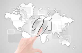 Royalty Free Photo of a Touchscreen Interface With a Map