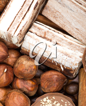 coffee beans, cinnamon and nuts background