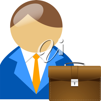 Royalty Free Clipart Image of an Avatar Businessman and Briefcase