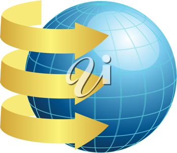Royalty Free Clipart Image of Three Gold Arrows Around a Blue Globe