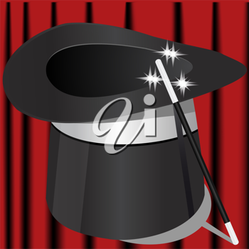 Royalty Free Clipart Image of a Magician's Hat and Wand