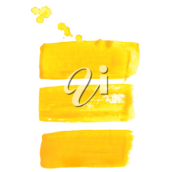 Yellow ink vector brush strokes
