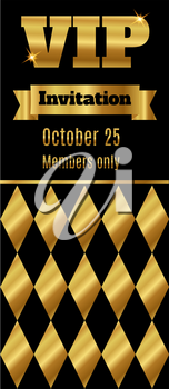 VIP club party premium invitation card flyer with rhombus. Black and gold template. Vector illustration