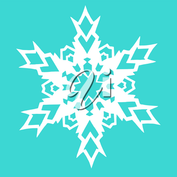 Christmas paper snowflake on blue background. Vector illustration