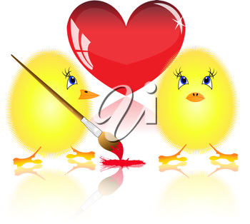 Royalty Free Clipart Image of Fluffy Chickens