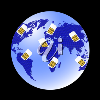 Royalty Free Clipart Image of SIM Cards and Planet Earth