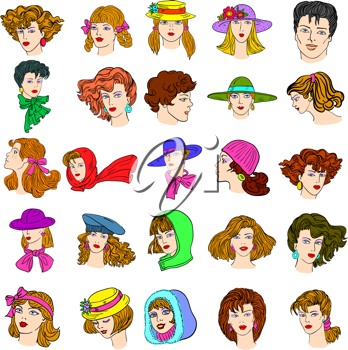 Royalty Free Clipart Image of Illustrations of People