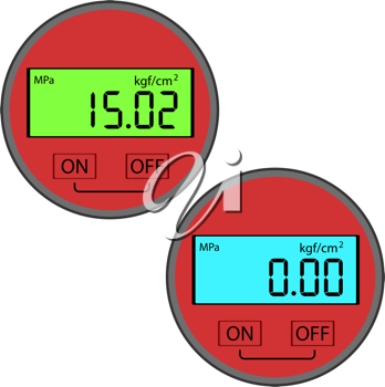 Royalty Free Clipart Image of Digital Gas Manometers
