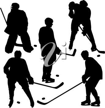 Royalty Free Clipart Image of Hockey Players