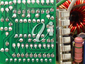 The computer power unit in an open kind with details and electric wires