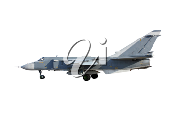 Military jet bomber Su-24 Fencer on take off and landing