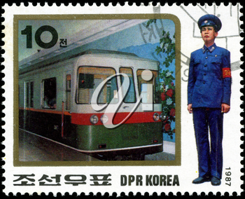 KOREA - CIRCA 1987: A stamp printed in Korea showing steam locomotive, circa 1987