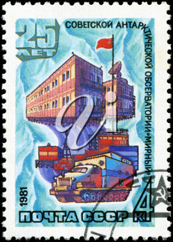 USSR-CIRCA 1981: A stamp printed in USSR, 25 years of Soviet Antarctic Observatory Mirny Station, circa 1981