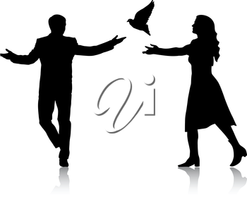 Concept of love or peace. Silhouettes girl and guy released doves into the sky. Vector illustration.