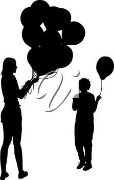 Black silhouettes of woman gives child a balloon on white background. Vector illustration.