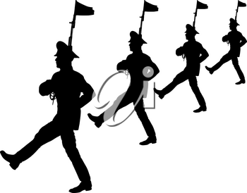 Black silhouette soldier is marching with arms on parade.