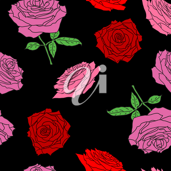 Beautiful seamless of different colors of roses and leaves.