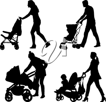 Set silhouettes walkings mothers with baby strollers.