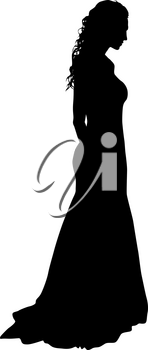 Black silhouette of a beautiful girl on a white background.