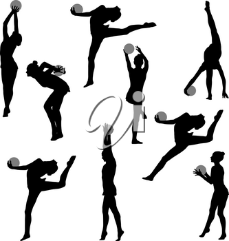 Set silhouette girl gymnast with the ball on white background.