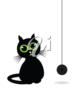Royalty Free Clipart Image of a Cat with a Ball of Yarn
