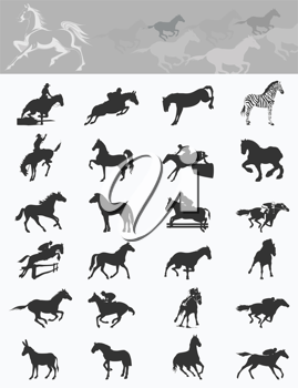 Royalty Free Clipart Image of a Silhouette of Horses