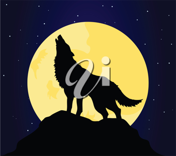 Royalty Free Clipart Image of a Wolf Howling at the Moon