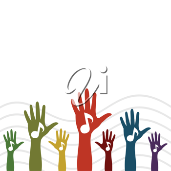 The hand with the note is lifted upwards. A vector illustration the grey