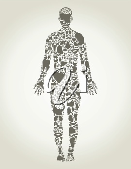 The person made of body parts. A vector illustration
