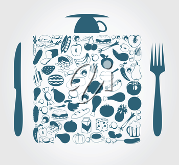 Foodstuff in a square a plug and a knife. A vector illustration