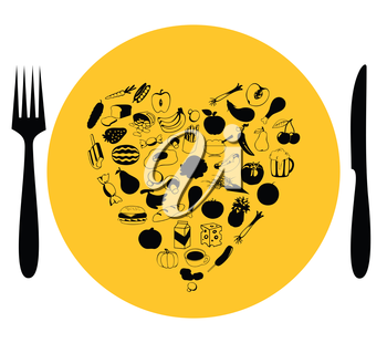 Heart on a plate from food. A vector illustration