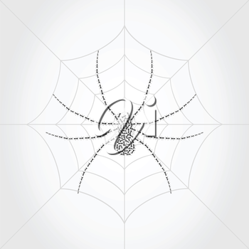 Spider on a web collected from ants. A vector illustration