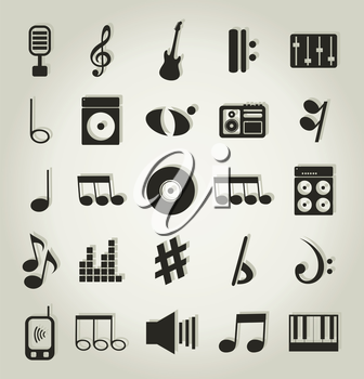 Set of icons on a theme music. A vector illustration