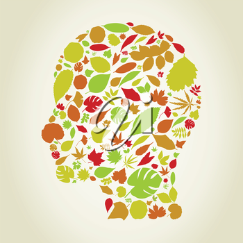Head made from leaf. A vector illustration