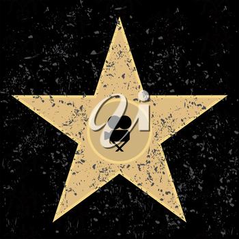 Cinema a star on a black background. A vector illustration