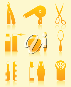 Set of icons on a theme a hairdressing salon. A vector illustration