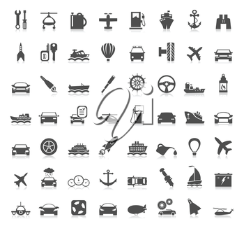 Collection transport of icons. A vector illustration
